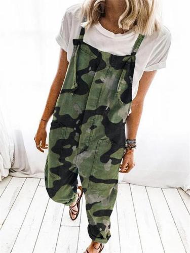 Loose High Waist Printed Sling Jumpsuit