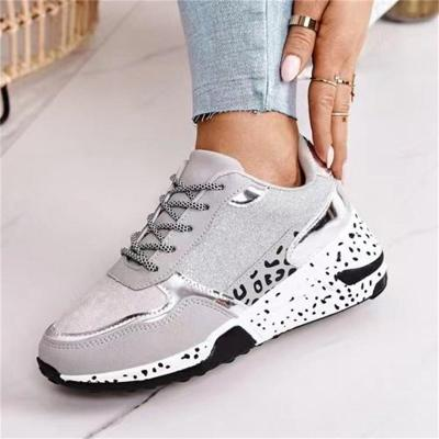 Leopard Print Wedge Heel Low-Top Lace-Up Casual Sports Shoes