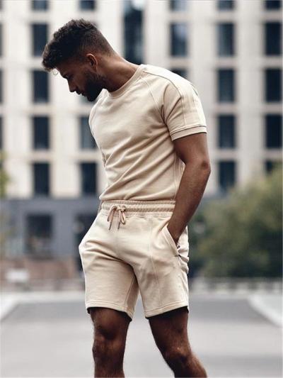 Mens Solid Color Casual Comfy Short Sleeved T-Shirts+Shorts