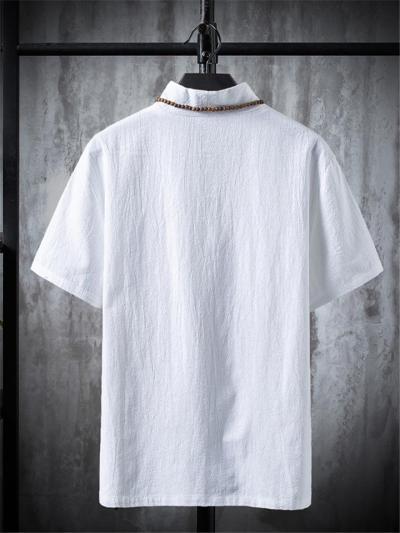Mens Casual Print Cotton&Linen Short Sleeve T-Shirts+Pants