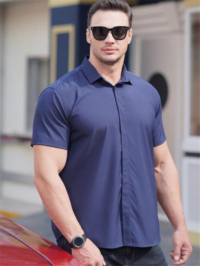 Mens Elastane Loose Comfy Button Short Sleeved Shirts