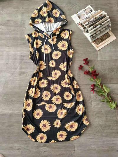 Sleeveless Leopard Print Hooded Drawstring Dress