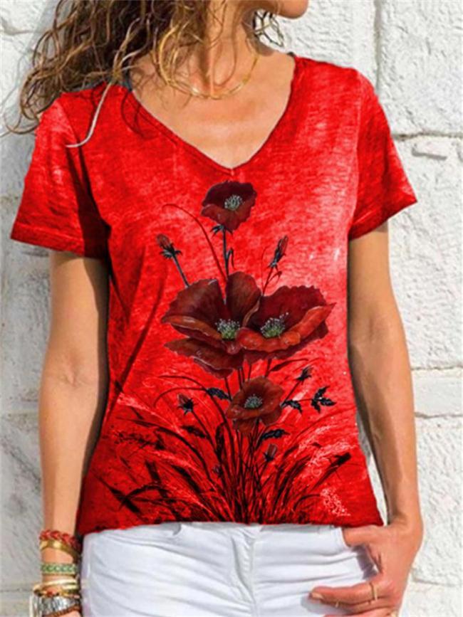 Loose V-Neck Printed Short-Sleeved T-Shirt