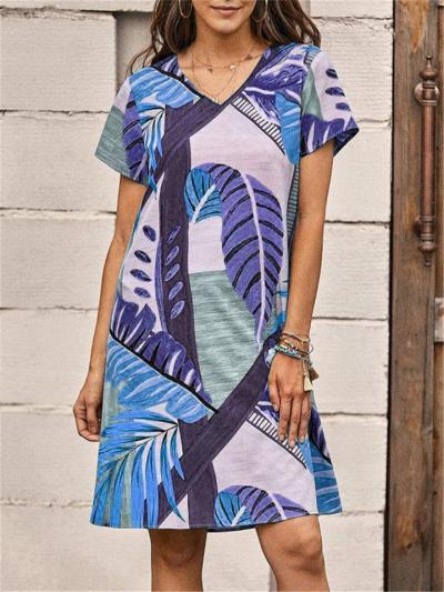Leaf Print Loose Casual  V Neck Short-Sleeved Dress