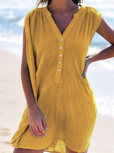 Casual Mid-Waist V-Neck Sleeveless Slim Dress