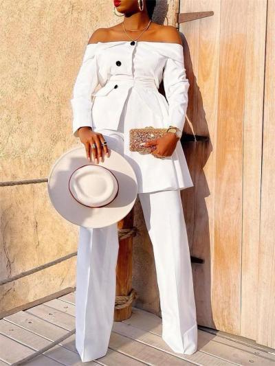 Fashion Long-Sleeved Off-Shoulder Solid Color Coat + Loose Pants