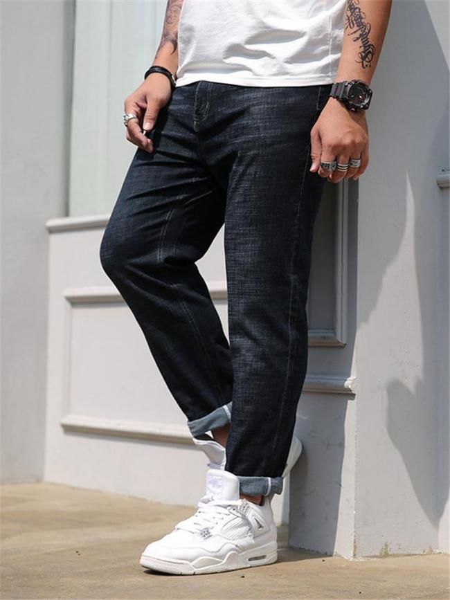 Mens Loose Comfy Elastane Casual Business Jeans