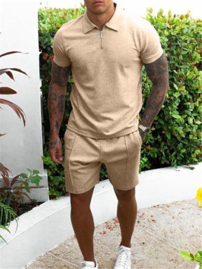 Mens Pure Color Plain Short Sleeved Shirts+Shorts