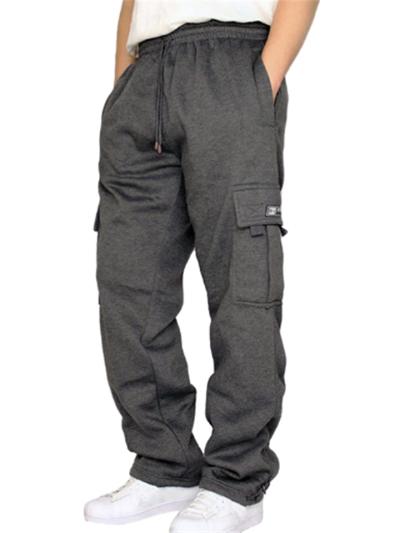 Mens Casual Comfy Drawstring Elastic Waist Pants With Pockets