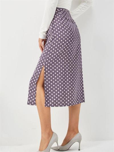 High Waist Mid-Length Zipper Polka Dot Bag Hip Skirt