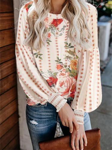 Fashion Loose Print Long-Sleeved Round Neck T-Shirt