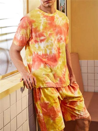 Mens Casual Fashion Blooming Short Sleeved T-Shirts+Shorts