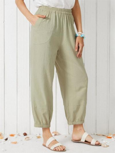 Casual Loose Solid Color High Waist Pants