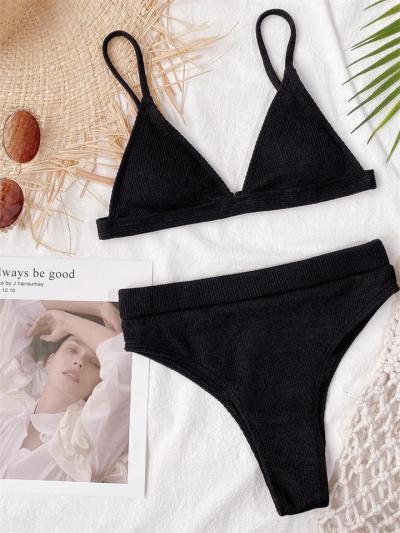 Solid Color Triangle Bikini Set