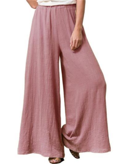 Casual Loose Plus Size Cotton And Linen Wide-Leg Pants