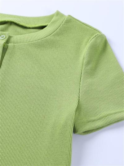 Sexy Knitted Solid Color Short-Sleeved Casual Sports Set