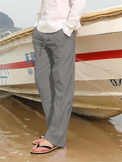 Mens Linen Comfy Pure Color Drawastring Elastic Waist Pants