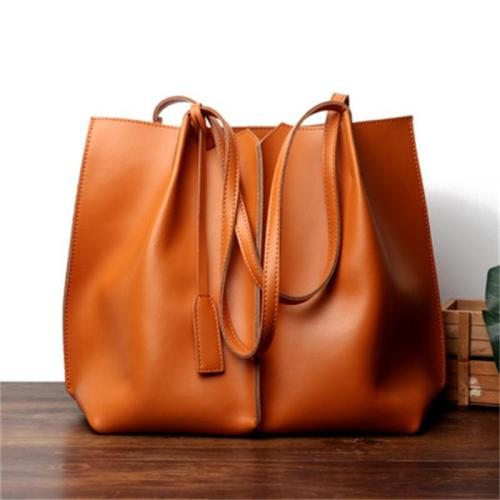 Fashion Large-Capacity Leather Solid Color Handbag