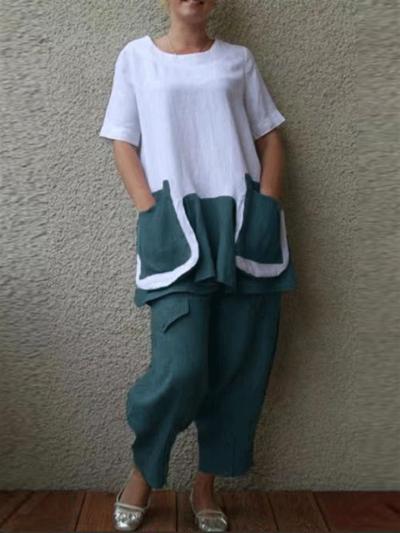 Casual Printed Round Neck Short-Sleeved Big Pocket T-Shirt + Loose Pants