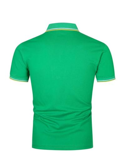 Mens Patchwork Fashion POLO Casual Short Sleeve Shirts