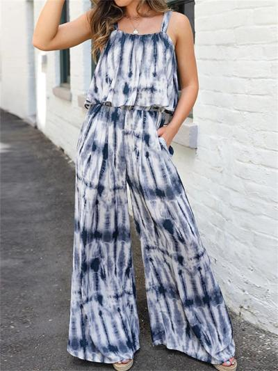 Printed Casual Sleeveless Wide-Leg Halter Jumpsuits