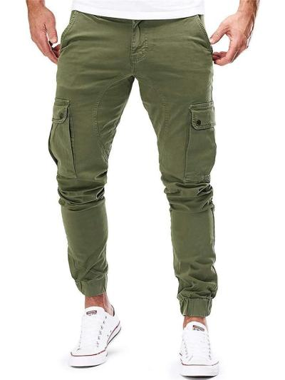Mens Casual Pure Color Cargo Pants With Pockets