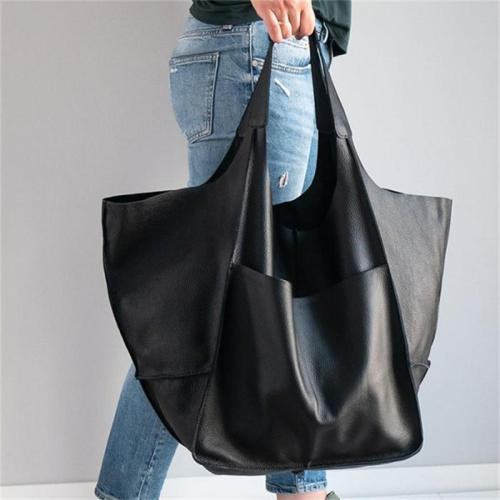Simple Style Soft Leather Large Capacity One-Shoulder Tote Bag
