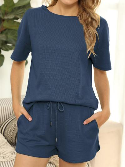 Casual Short-Sleeved Solid Color Two-Piece Set + Straight-Leg Shorts