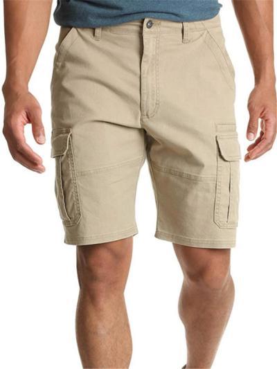 Mens Casual Plain Comfy Straight Knee Cargo Shorts
