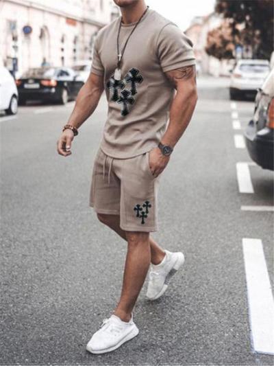 Mens Casual Print Comfy Short Sleeve T-Shirts+Shorts