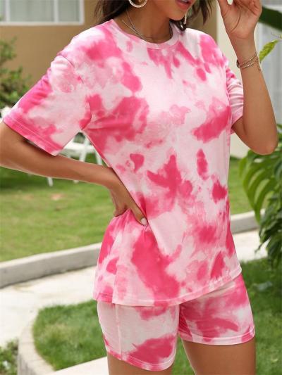 Fashion Gradient Color Loose T-Shirt Two-Piece Set + Slim Pencil Shorts