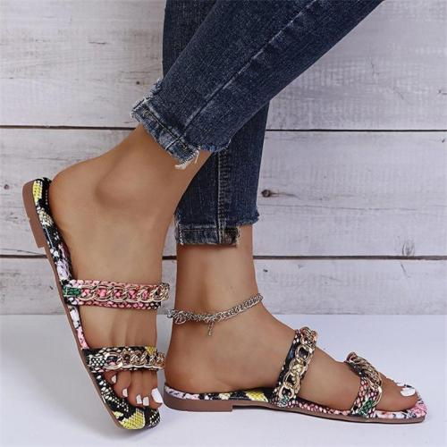 Casual Metal Chain Buckle Snake Print Breathable Slippers
