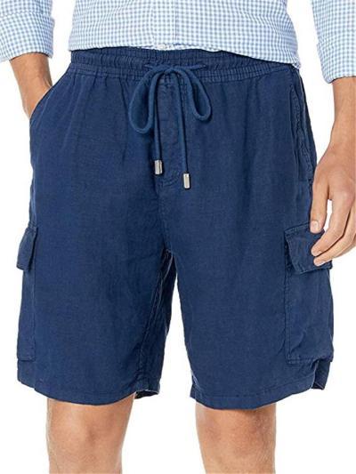 Mens Loose Cotton&Linen Casual Fashion Knee Shorts