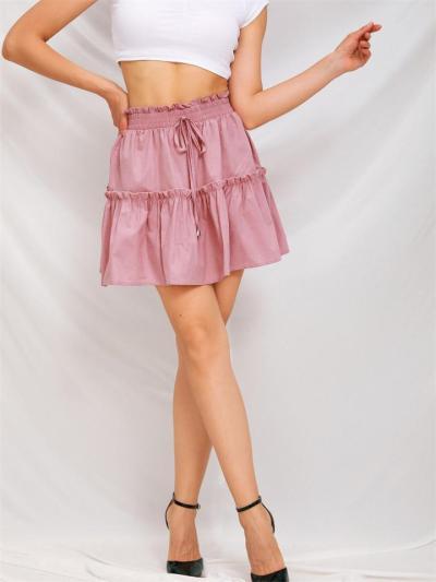 Fashion High Waist Elastic Solid Color Skirt