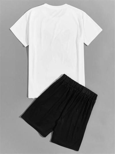 Mens Comfy Print Casual Sports T-Shirts+Shorts