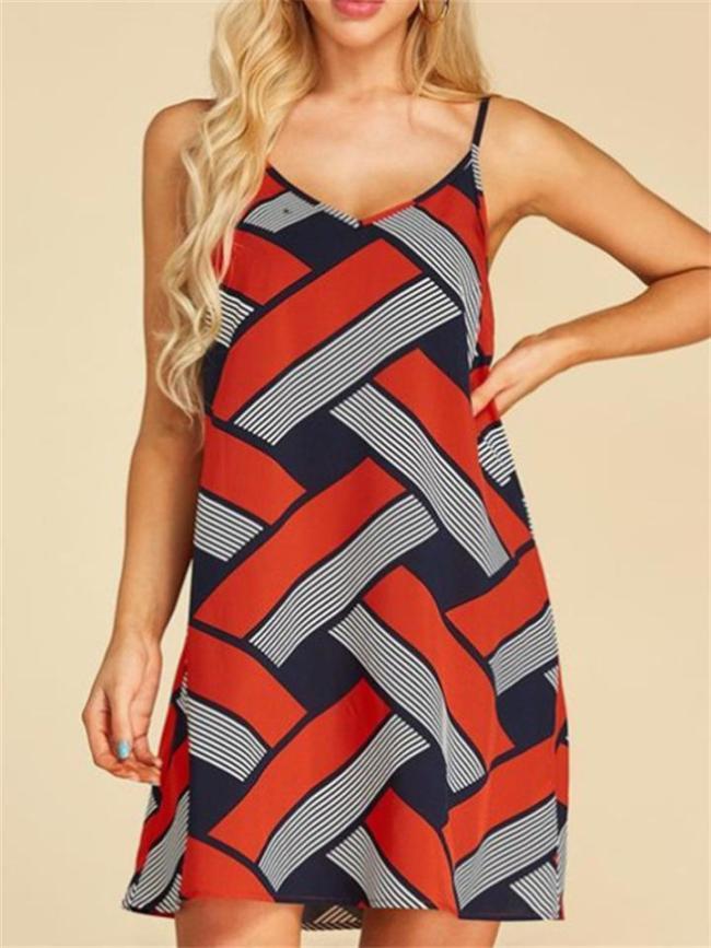 Casual Geometric Print Mid-Rise Sleeveless Dress