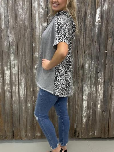Street Style Leopard Print Loose Bat Sleeve Hooded T-Shirt
