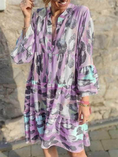 Loose Printed V-Neck Long Sleeve Dress
