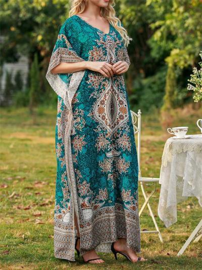 Loose Short Sleeve V-Neck Print Dress