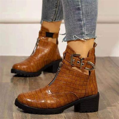 Fashion Mid-Heel Round Toe Buckle Boots