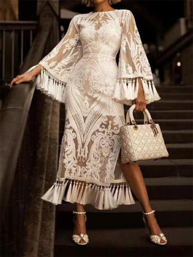 Solid Color High Waist Lace Embroidered Fringed Dress Two-Piece Set
