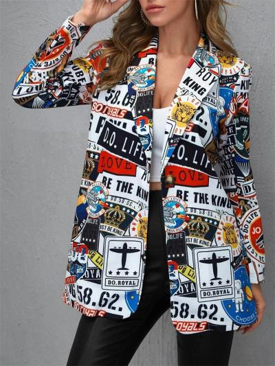 Loose Printed Button Long Sleeve Coat