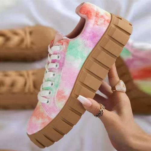 Lace Up Style Plus Size Low-Top Flat Heel Printed Shoes