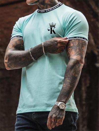 Mens Slim Fit Patchwork Print Short Sleeve T-Shirts