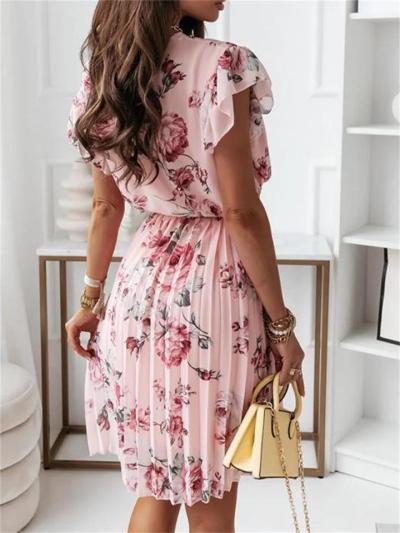 Digital Printed Ruffled Short-Sleeved V-Neck Dress