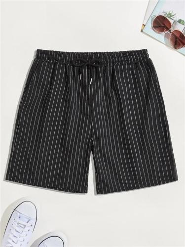 Mens Vertical Contrast Color Drawstring Waist Shorts