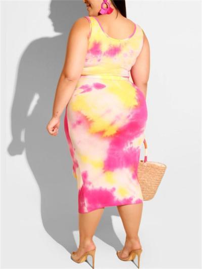 Fashion Sexy Print Sleeveless Top Two-Piece Set + Hip Skirt