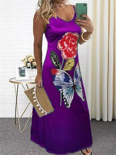 V-Neck High Waist Sleeveless Butterfly Print Dress