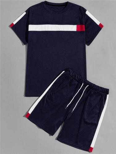 Mens Comfy Patchwork Casual Sports T-Shirts+Shorts