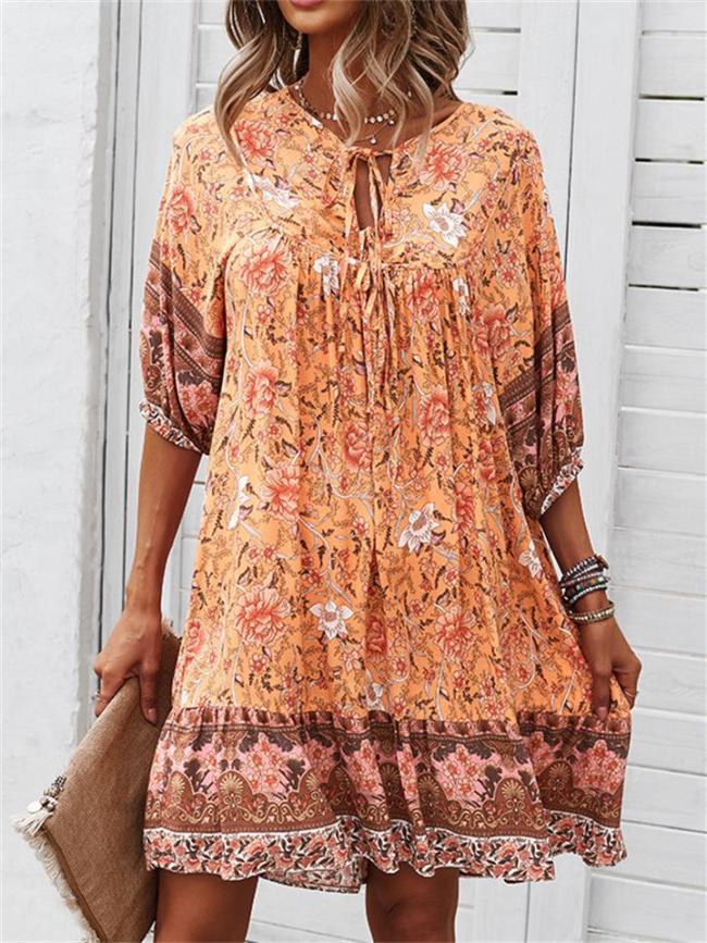 Loose Printed Mid-Waist Dress